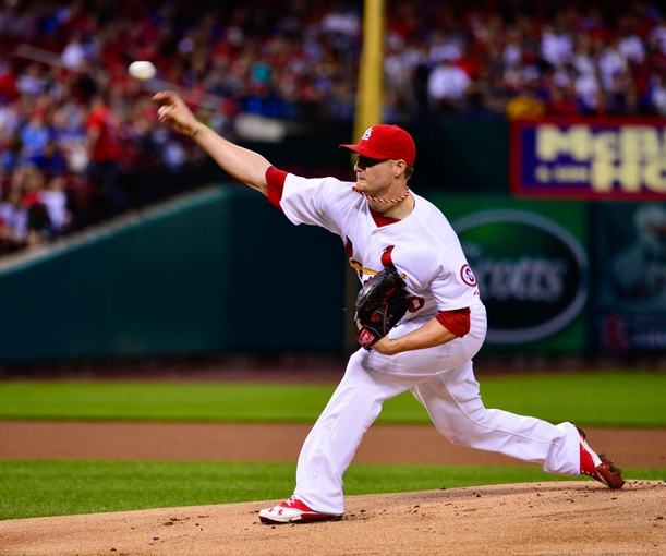 Jun 17, 2013; St. Louis, MO, USA; St. Louis Cardinals starting pitcher Shelby Miller (40) delivers a pitch against the Chicago Cubs at Busch Stadium. Mandatory Credit: Scott Rovak-USA TODAY Sports