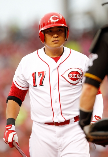 Jun 17, 2013; Cincinnati, OH, USA; Cincinnati Reds center fielder Shin-Soo Choo (17) prepares to bat during the first inning against the Pittsburgh Pirates at Great American Ball Park. Mandatory Credit: Frank Victores-USA TODAY Sports