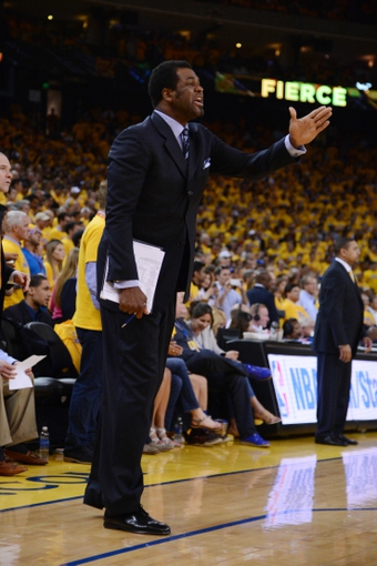 May 16, 2013; Oakland, CA, USA; Golden State Warriors assistant coach Pete Myers instructs during the fourth quarter in game six of the second round of the 2013 NBA Playoffs against the San Antonio Spurs at Oracle Arena. The Spurs defeated the Warriors 94-82.  Mandatory Credit: Kyle Terada-USA TODAY Sports