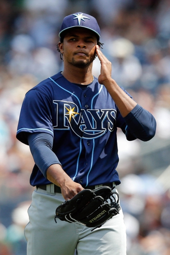 Jun 22, 2013; Bronx, NY, USA;  Tampa Bay Rays starting pitcher Alex Colome (37) heads to the dugout after being relieved during the fifth inning against the New York Yankees at Yankee Stadium.  Mandatory Credit: Anthony Gruppuso-USA TODAY Sports