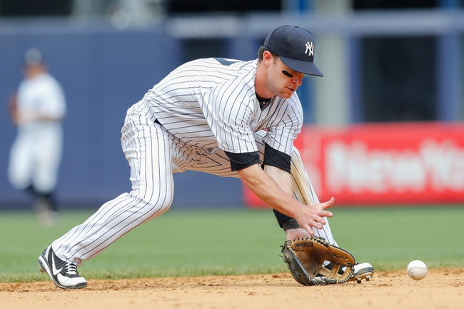 Jun 23, 2013; Bronx, NY, USA; New York Yankees shortstop Jayson Nix (17) fields a ball during the eighth inning against the Tampa Bay Rays at Yankee Stadium.  Tampa won 3-1.  Mandatory Credit: Anthony Gruppuso-USA TODAY Sports