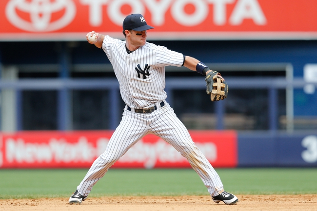 Jun 23, 2013; Bronx, NY, USA; New York Yankees shortstop Jayson Nix (17) readies a throw to first during the eighth inning against the Tampa Bay Rays at Yankee Stadium.  Tampa won 3-1.  Mandatory Credit: Anthony Gruppuso-USA TODAY Sports