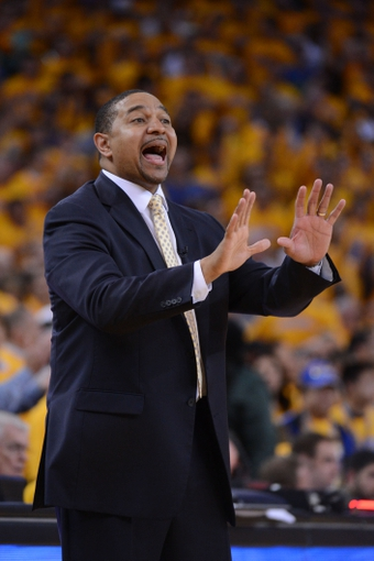 May 12, 2013; Oakland, CA, USA; Golden State Warriors head coach Mark Jackson instructs during overtime in game four of the second round of the 2013 NBA Playoffs against the San Antonio Spurs at Oracle Arena. The Warriors defeated the Spurs 97-87 in overtime. Mandatory Credit: Kyle Terada-USA TODAY Sports