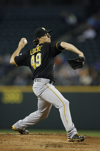Jun 25, 2013; Seattle, WA, USA; Pittsburgh Pirates pitcher Jeff Locke (49) throws against the Seattle Mariners during the second inning at Safeco Field. Mandatory Credit: Joe Nicholson-USA TODAY Sports