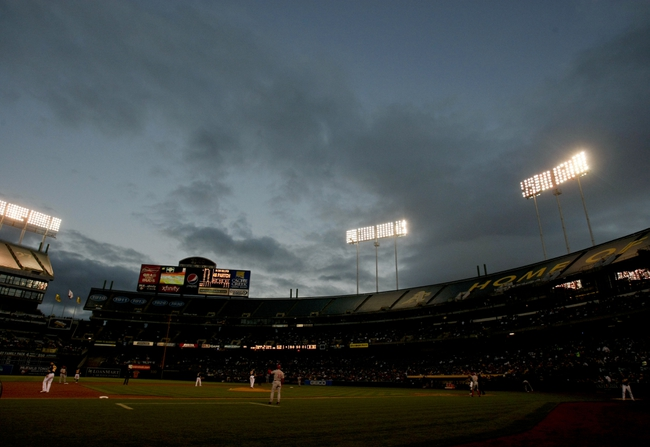 Jun 25, 2013; Oakland, CA, USA; General view of cloudy skies over the coliseum during the fifth inning between the Oakland Athletics and the Cincinnati Reds at O.co Coliseum. The Oakland Athletics defeated the Cincinnati Reds 7-3. Mandatory Credit: Kelley L Cox-USA TODAY Sports