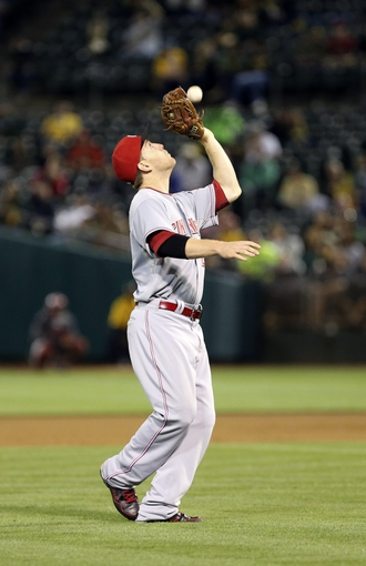 Jun 25, 2013; Oakland, CA, USA; Cincinnati Reds third baseman Todd Frazier (21) catches the ball against the Oakland Athletics during the fifth inning at O.co Coliseum. The Oakland Athletics defeated the Cincinnati Reds 7-3. Mandatory Credit: Kelley L Cox-USA TODAY Sports