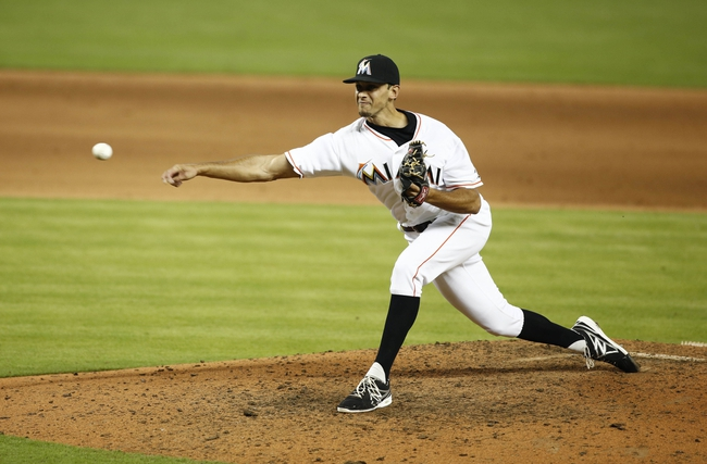 Jun 26, 2013; Miami, FL, USA;  Miami Marlins relief pitcher Steve Cishek (31) throws a pitch against the Minnesota Twins in the ninth inning at Marlins Park. The Marlins won 5-3. Mandatory Credit: Robert Mayer-USA TODAY Sports