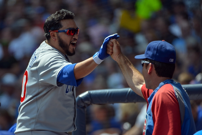 Jun 27, 2013; Milwaukee, WI, USA; Chicago Cubs catcher Dioner Navarro is greeted in the dugout after hitting a 3-run home run in the 3rd inning against the Milwaukee Brewers at Miller Park. Mandatory Credit: Benny Sieu-USA TODAY Sports