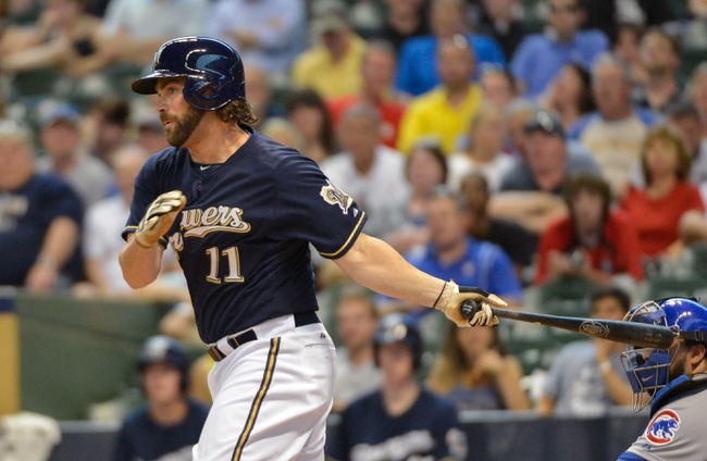 Jun 27, 2013; Milwaukee, WI, USA; Milwaukee Brewers pinch hitter Sean Halton gets his first major league hit in his first major league at bat in the 5th inning against the Chicago Cubs at Miller Park. Mandatory Credit: Benny Sieu-USA TODAY Sports