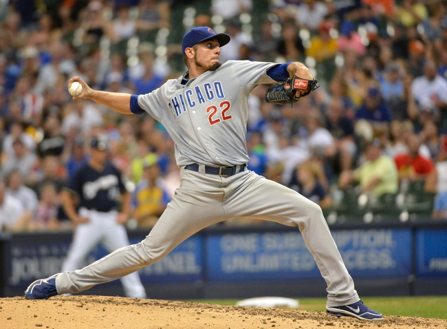 Jun 27, 2013; Milwaukee, WI, USA; Chicago Cubs pitcher Matt Garza pitches in the 5th inning against the Milwaukee Brewers at Miller Park. Mandatory Credit: Benny Sieu-USA TODAY Sports