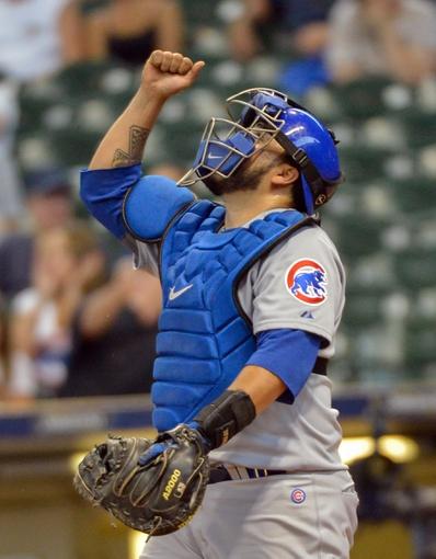 Jun 27, 2013; Milwaukee, WI, USA; Chicago Cubs catcher Dioner Navarro reacts after the Cubs beat the Milwaukee Brewers 7-2 at Miller Park. Mandatory Credit: Benny Sieu-USA TODAY Sports
