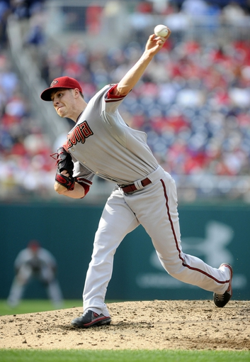 Jun 27, 2013; Washington, DC, USA; Arizona Diamondbacks starting pitcher Patrick Corbin (46) throws during the third inning against the Washington Nationals at Nationals Park. Mandatory Credit: Brad Mills-USA TODAY Sports