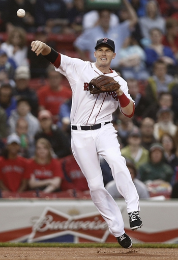 Jun 27, 2013; Boston, MA, USA;  Boston Red Sox shortstop Stephen Drew throws out Toronto Blue Jays player Mark DeRosa (not pictured) during the second inning at Fenway Park. Mandatory Credit: Winslow Townson-USA TODAY Sports