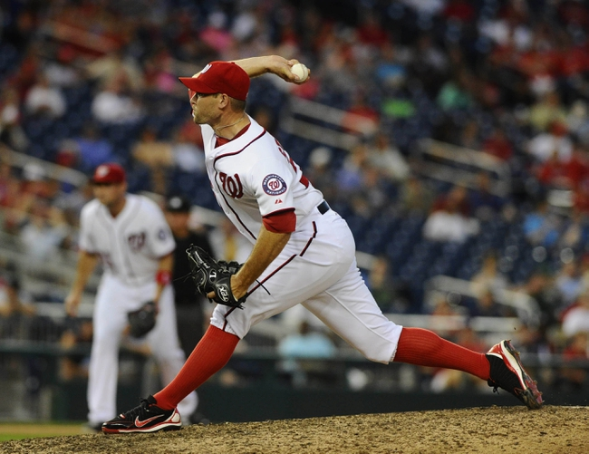 Jun 27, 2013; Washington, DC, USA; Washington Nationals relief pitcher Craig Stammen (35) throws during the eleventh inning against the Arizona Diamondbacks at Nationals Park. Mandatory Credit: Brad Mills-USA TODAY Sports