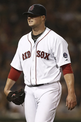 Jun 27, 2013; Boston, MA, USA;  Boston Red Sox starting pitcher Jon Lester leaves the mound after the sixth inning against the Toronto Blue Jays at Fenway Park. Mandatory Credit: Winslow Townson-USA TODAY Sports