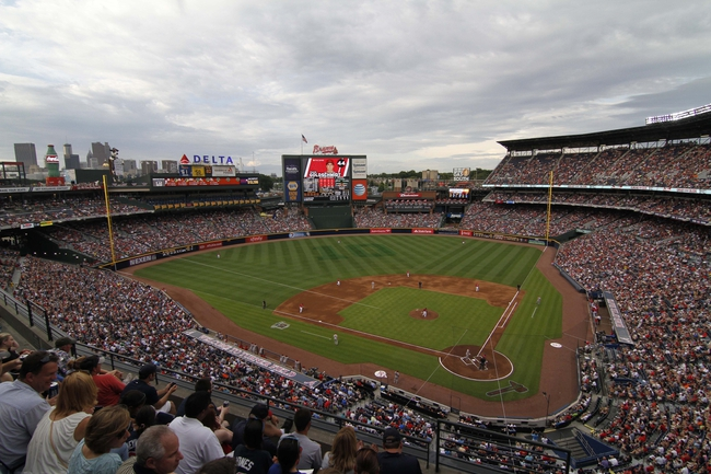 Jun 28, 2013; Atlanta, GA, USA; General view of Turner Field featuring the number ten in honor of former third baseman Chipper Jones (not pictured) during a game between the Atlanta Braves and Arizona Diamondbacks in the first inning at Turner Field. Mandatory Credit: Brett Davis-USA TODAY Sports