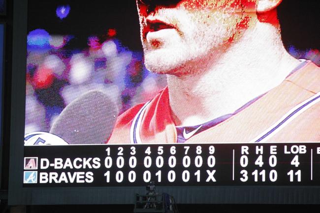 Jun 28, 2013; Atlanta, GA, USA; Detailed view of the scoreboard after a game between the Atlanta Braves and Arizona Diamondbacks at Turner Field. The Braves defeated the Diamondbacks 3-0. Mandatory Credit: Brett Davis-USA TODAY Sports