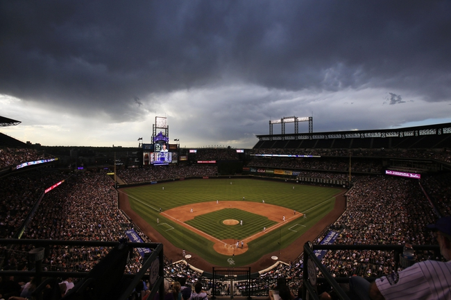 Jun 28, 2013; Denver, CO, USA; A general view as the Colorado Rockies play the San Francisco Giants during the third inning at Coors Field. Mandatory Credit: Chris Humphreys-USA TODAY Sports