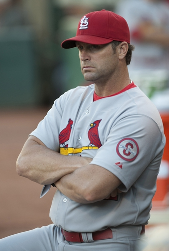 Jun 28, 2013; Oakland, CA, USA; St. Louis Cardinals manager Mike Matheny (22) looks on during the second inning of the game against the Oakland Athletics at O.Co Coliseum. Mandatory Credit: Ed Szczepanski-USA TODAY Sports