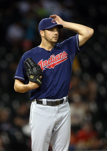 Jun 28, 2013; Chicago, IL, USA; Cleveland Indians relief pitcher Rich Hill reacts during the sixth inning in the second game of a baseball doubleheader against the Chicago White Sox at US Cellular Field. Mandatory Credit: Jerry Lai-USA TODAY Sports
