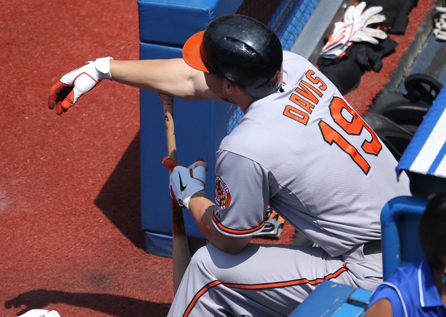 Jun 23, 2013; Toronto, ON, Canada; Baltimore Orioles first baseman Chris Davis (19) gets ready to bat against the Toronto Blue Jays at Rogers Centre. The Blue Jays beat the Orioles 13-5. Mandatory Credit: Tom Szczerbowski-USA TODAY Sports