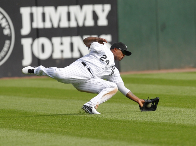 Jun 29, 2013; Chicago, IL, USA; Chicago White Sox left fielder Dayan Viciedo (24) makes a diving catch on a ball off the bat of Cleveland Indians center fielder Michael Bourn (not pictured) during the third inning at US Cellular Field. Mandatory Credit: Dennis Wierzbicki-USA TODAY Sports