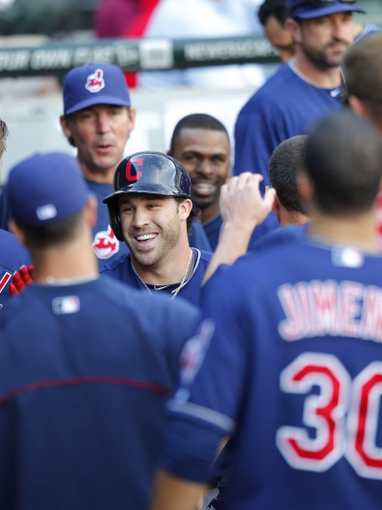 Jun 29, 2013; Chicago, IL, USA; Cleveland Indians second baseman Jason Kipnis (22) is congratulated in the dugout for hitting a 2 run home run during the sixth inning against the Chicago White Sox at US Cellular Field. Cleveland won 4-3. Mandatory Credit: Dennis Wierzbicki-USA TODAY Sports