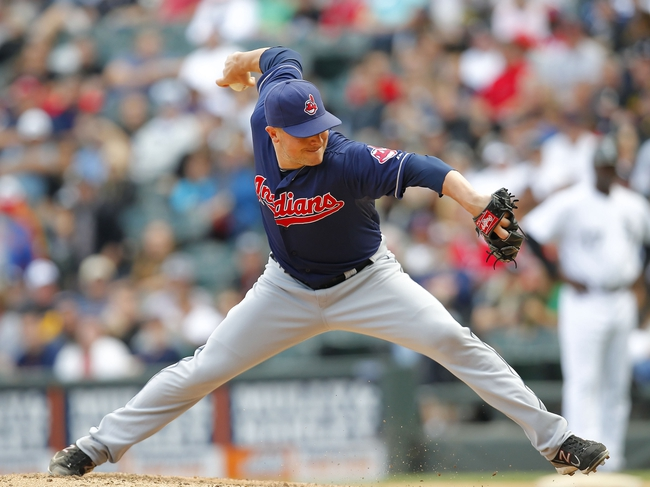 Jun 29, 2013; Chicago, IL, USA; Cleveland Indians relief pitcher Joe Smith (38) deliver a pitch during the eighth inning against the Chicago White Sox at US Cellular Field. Cleveland won 4-3. Mandatory Credit: Dennis Wierzbicki-USA TODAY Sports