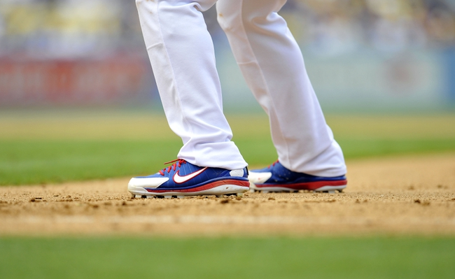 June 30, 2013; Los Angeles, CA, USA; Detail of the shoes of Los Angeles Dodgers center fielder Matt Kemp (27) during the eighth inning at Dodger Stadium. Mandatory Credit: Gary A. Vasquez-USA TODAY Sports