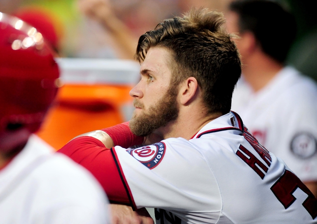 Jul 1, 2013; Washington, DC, USA; Washington Nationals outfielder Bryce Harper (34) looks on during the game against the Milwaukee Brewers at Nationals Park. Mandatory Credit: Evan Habeeb-USA TODAY Sports