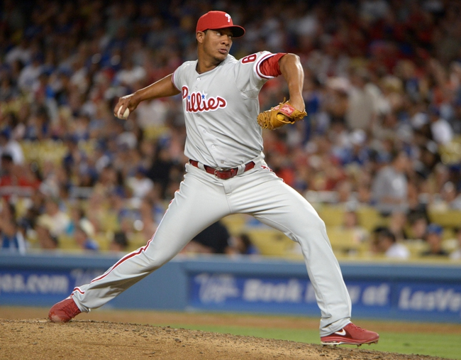 Jun 29, 2013; Los Angeles, CA, USA; Philadelphia Phillies reliever J.C. Ramirez (66) delivers a pitch against the Los Angeles Dodgers at Dodger Stadium. The Dodgers defeated the Phillies 4-3. Mandatory Credit: Kirby Lee-USA TODAY Sports