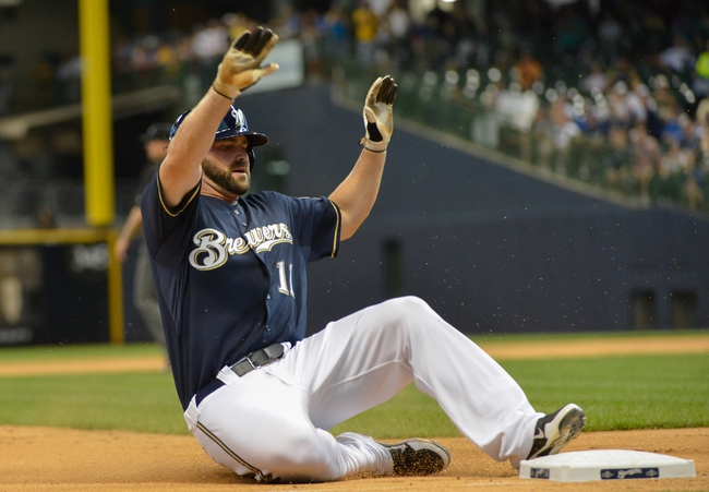 Jun 27, 2013; Milwaukee, WI, USA;  Milwaukee Brewers first baseman Sean Halton during the game against the Chicago Cubs at Miller Park. Mandatory Credit: Benny Sieu-USA TODAY Sports