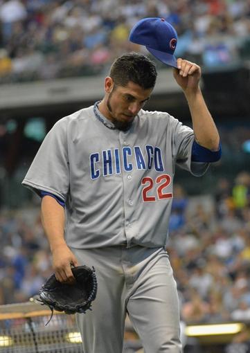 Jun 27, 2013; Milwaukee, WI, USA;  Chicago Cubs pitcher Matt Garza during the game against the Milwaukee Brewers at Miller Park. Mandatory Credit: Benny Sieu-USA TODAY Sports