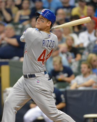 Jun 27, 2013; Milwaukee, WI, USA;  Chicago Cubs first baseman Anthony Rizzo during the game against the Milwaukee Brewers at Miller Park. Mandatory Credit: Benny Sieu-USA TODAY Sports