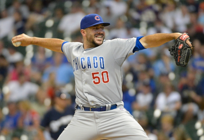 Jun 27, 2013; Milwaukee, WI, USA;  Chicago Cubs pitcher Blake Parker during the game against the Milwaukee Brewers at Miller Park. Mandatory Credit: Benny Sieu-USA TODAY Sports