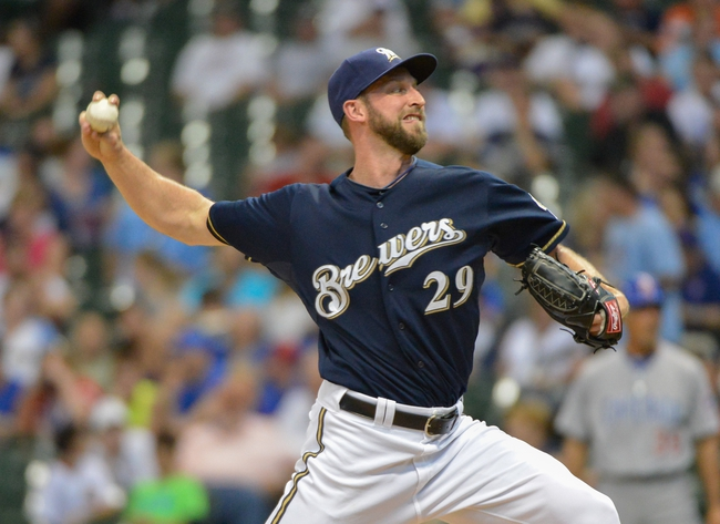 Jun 27, 2013; Milwaukee, WI, USA;  Milwaukee Brewers pitcher Jim Henderson during the game against the Chicago Cubs at Miller Park. Mandatory Credit: Benny Sieu-USA TODAY Sports