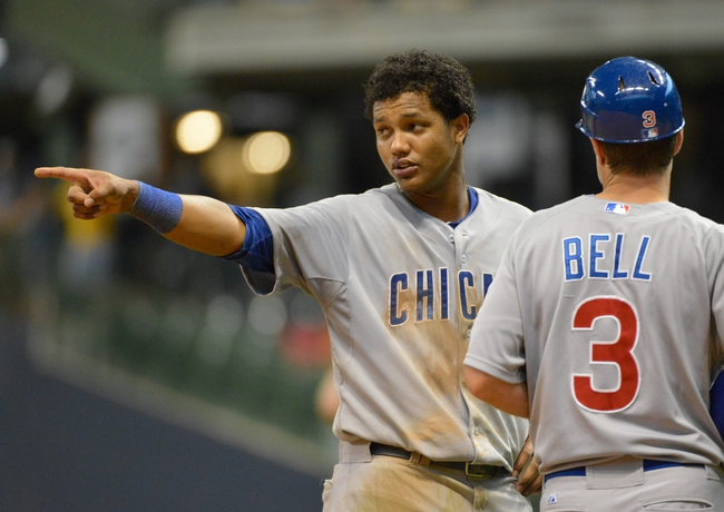 Jun 27, 2013; Milwaukee, WI, USA; Chicago Cubs shortstop Starlin Castro during the game against the Milwaukee Brewers at Miller Park. Mandatory Credit: Benny Sieu-USA TODAY Sports