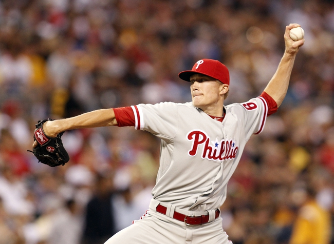 Jul 2, 2013; Pittsburgh, PA, USA; Philadelphia Phillies relief pitcher Jacob Diekman (63) delivers a pitch against the Pittsburgh Pirates during the sixth  inning at PNC Park. The Philadelphia Phillies won 3-1. Mandatory Credit: Charles LeClaire-USA TODAY Sports