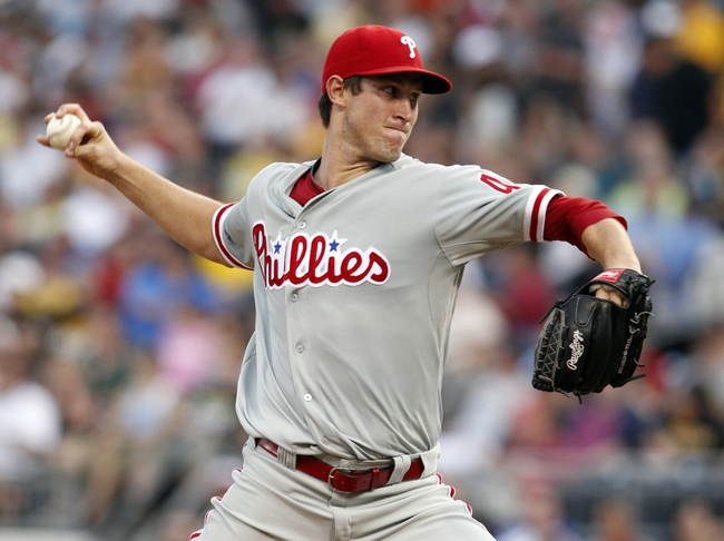Jul 2, 2013; Pittsburgh, PA, USA; Philadelphia Phillies starting pitcher Jonathan Pettibone (44) delivers a pitch against the Pittsburgh Pirates during the fourtt inning at PNC Park. The Philadelphia Phillies won 3-1. Mandatory Credit: Charles LeClaire-USA TODAY Sports
