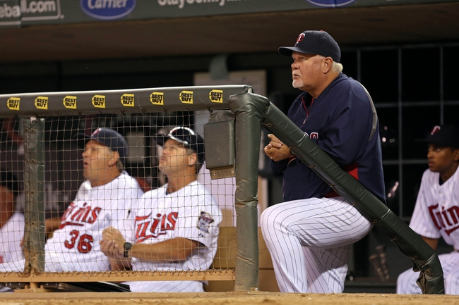 Jul 2, 2013; Minneapolis, MN, USA; Minnesota Twins manager Ron Gardenhire looks on from the dug out in the ninth inning against the New York Yankees at Target Field. The Yankees won 7-3. Mandatory Credit: Jesse Johnson-USA TODAY Sports
