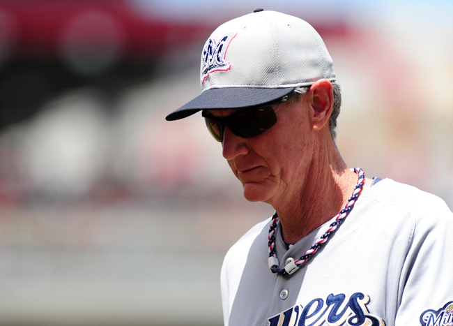 Jul 4, 2013; Washington, DC, USA; Milwaukee Brewers manager Ron Roenecke looks on during the game against the Washington Nationals at Nationals Park. Mandatory Credit: Evan Habeeb-USA TODAY Sports