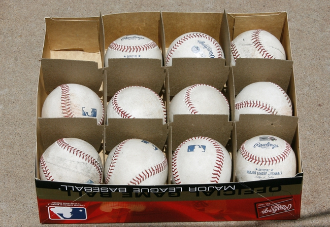 Jul 4, 2013; Pittsburgh, PA, USA; Baseballs that have been authenticated as game used sit in the photo well during the seventh inning between the Philadelphia Phillies and the Pittsburgh Pirates at PNC Park. The Philadelphia Phillies won 6-4. Mandatory Credit: Charles LeClaire-USA TODAY Sports