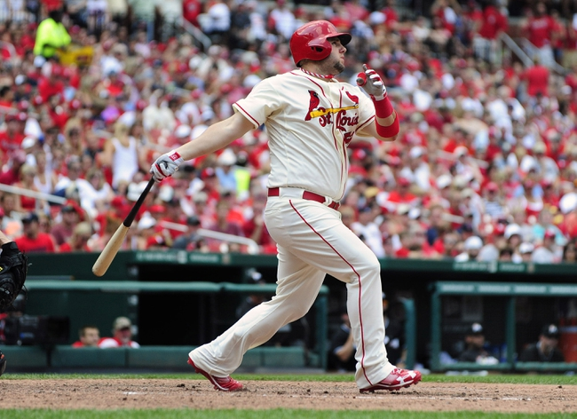 Jul 6, 2013; St. Louis, MO, USA; St. Louis Cardinals pinch hitter Matt Adams (53) hits a game tying two run home run off of Miami Marlins relief pitcher Mike Dunn (not pictured) during the seventh inning at Busch Stadium. St. Louis defeated Miami 5-4. Mandatory Credit: Jeff Curry-USA TODAY Sports