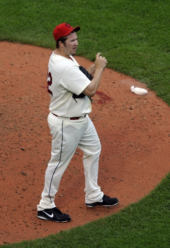Jul 6, 2013; Cleveland, OH, USA; Cleveland Indians relief pitcher Matt Albers (32) reacts after giving up a home run in the sixth inning against the Detroit Tigers at Progressive Field. Mandatory Credit: David Richard-USA TODAY Sports
