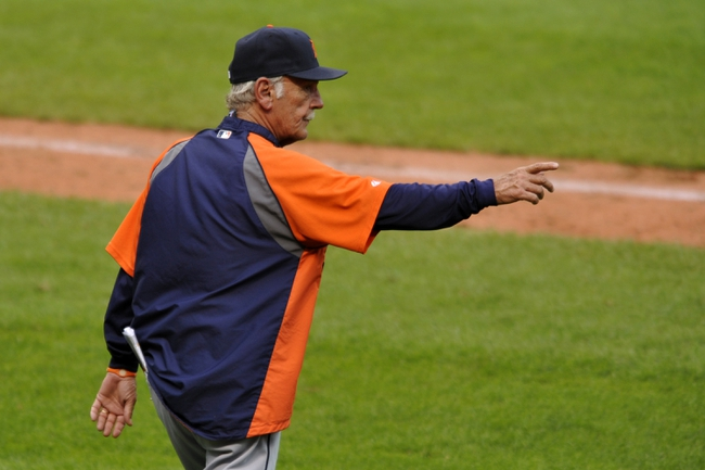 Jul 6, 2013; Cleveland, OH, USA; Detroit Tigers manager Jim Leyland (10) points to the bullpen in the seventh inning against the Cleveland Indians at Progressive Field. Mandatory Credit: David Richard-USA TODAY Sports