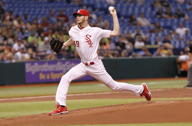 Jul 6, 2013; St. Petersburg, FL, USA; Chicago White Sox starting pitcher Chris Sale (49) throws a pitch during the first inning against the Tampa Bay Rays at Tropicana Field. Mandatory Credit: Kim Klement-USA TODAY Sports