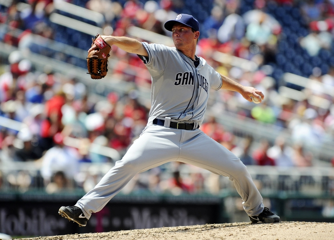 Jul 7, 2013; Washington, DC, USA; San Diego Padres starting pitcher Robbie Erlin (41) throws during the fifth inning against the Washington Nationals at Nationals Park. Mandatory Credit: Brad Mills-USA TODAY Sports