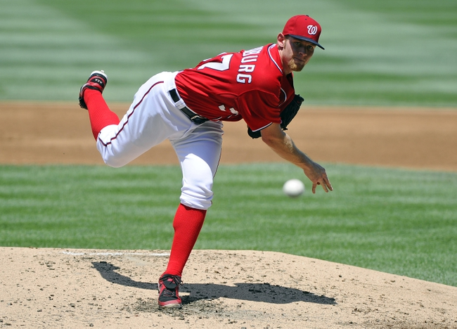 Jul 7, 2013; Washington, DC, USA; Washington Nationals starting pitcher Stephen Strasburg (37) throws during the third inning against the San Diego Padres at Nationals Park. Mandatory Credit: Brad Mills-USA TODAY Sports