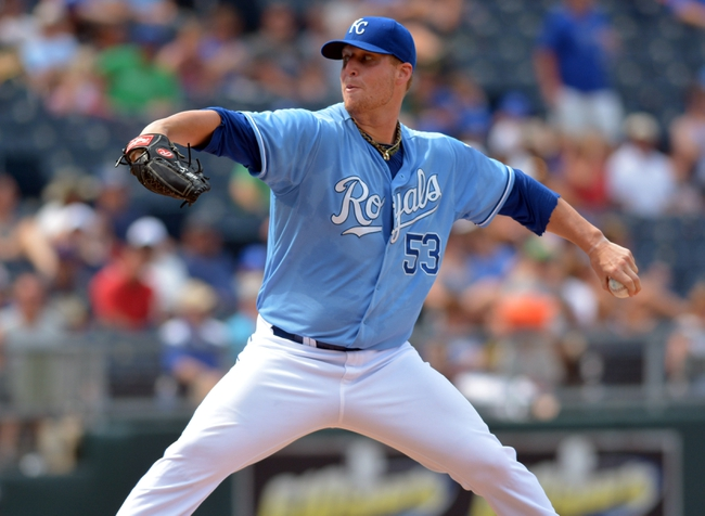 Jul 7, 2013; Kansas City, MO, USA; Kansas City Royals starting pitcher Will Smith (53) delivers a pitch in the seventh inning of the game against the Oakland Athletics at Kauffman Stadium. Oakland won 10-4. Mandatory Credit: Denny Medley-USA TODAY Sports