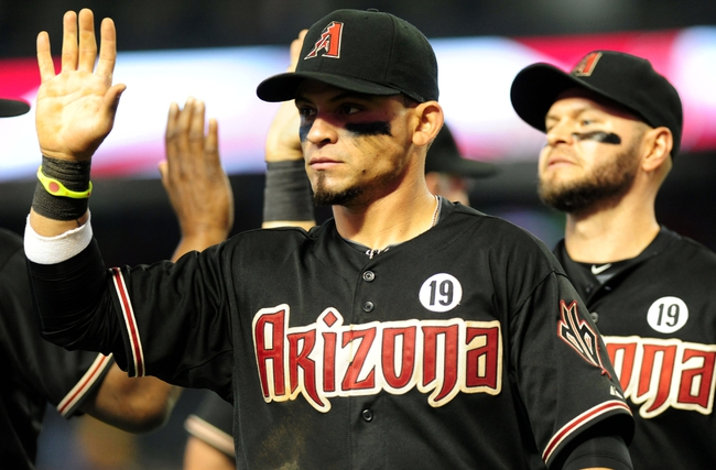 Jul 7, 2013; Phoenix, AZ, USA; Arizona Diamondbacks center fielder Gerardo Parra (8) celebrates with teammates after a 6 to 1 win against the Colorado Rockies at Chase Field. Mandatory Credit: Jennifer Hilderbrand-USA TODAY Sports
